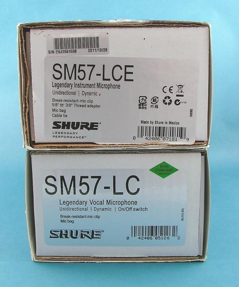 Real SM57 box (top) and fake SM57 box (bottom)